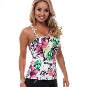 Pink Green Ivory Floral Print Corset Top Blouse